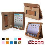 Snugg iPad 2 Leather Case Cover and Flip Stand with Elastic Hand Strap and Premium Nubuck Fibre Interior (Brown) - Automatically Wakes and Puts the iPad 2 to Sleep. Superior Quality Design as Featured in Wired Magazine. Reviews ♥♥♥