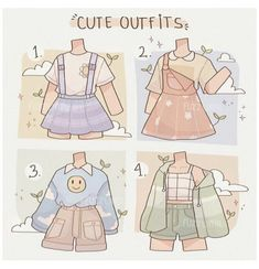 Kawaii Drawings, Cute Drawings, Outfit Drawings, Kleidung Design, Drawing Anime Clothes, Manga Clothes, Clothing Sketches, Cute Art Styles, Fashion Design Drawings