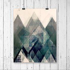 moderno metà secolo, arte per larredamento domestico, geometrico, colori, arte geometrica, pittura moderna, pittura astratta, in stampe darte giclée, belle arti ________________________________________________ Arte astratta stampa per Amy Lighthall Composizione, colore e texture bellissima sono presenti in questa stampa darte. Esso rappresenta le montagne e ha un aspetto astratto sottile di cristalli in esso. Un sacco di bella strati rendono questo unico e uno di un gentile arte moderna…