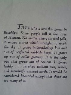 A Tree Grows In Brooklyn #quote