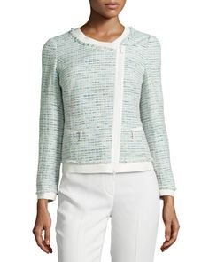 Asymmetric-Zip+Leather-Trim+Tweed+Jacket,+Dewdrop/Multi+by+Lafayette+148+New+York+at+Neiman+Marcus+Last+Call.