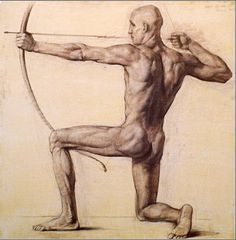 Igor Panov (Russian, b. 1969), Shooting Archer, 1999. Sepia on paper, 100 x 100 cm. Private collection.