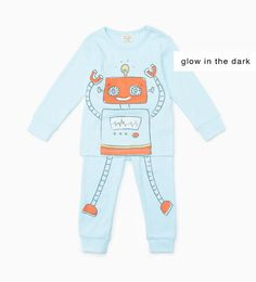 "ZARA - KIDS - ""Glow in the dark"" robot pajamas"