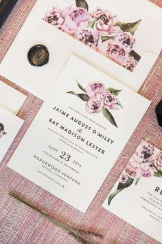 Peony - wedding invitation suite by Minted artist Cass Loh. Pink blush flower design for your Spring wedding.