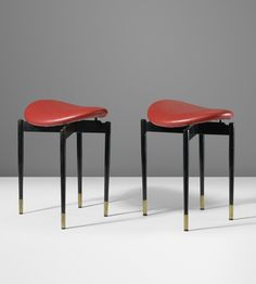 Carlo Mollino; Enameled Steel, Vinyl and Brass Stools by Doro from Lutrario Hall, Torino, 1959.