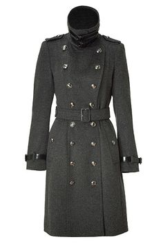 Dark Charcoal Heather Wool-Cashmere Duncannon Coat by BURBERRY LONDON