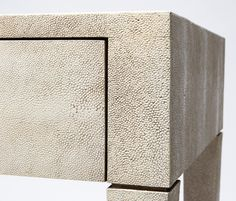 Sorn Faux Shagreen Desk in Pristine Finish with Two Drawers Clean-Lined Parsons Style Cladded in Faux Shagreen Available in Pristine, Off White, Seal, Black and Castor Grey Finishes Also Available in Other Styles Cabinet Furniture, Accent Furniture, New Furniture, Table Furniture, Furniture Making, Luxury Furniture, Painted Furniture, Furniture Design, Joinery Details