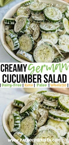 "This dairy-free Creamy German Cucumber Salad (""Gurkensalat"") is a simple and refreshing summertime recipe that goes great with grilled meats, like bratwursts or burgers. Inherently low carb, Keto-friendly and Whole30 compliant, this refreshing combination of cucumbers, onions and a tangy dill dressing is the perfect side dish for all of the dietary lifestyles seated around your picnic table! 