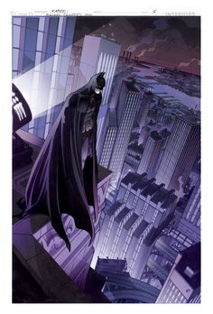 Batman over Gotham City by Domenico Neziti Batman Painting, Batman Artwork, Batman Wallpaper, Im Batman, Batman Arkham, Batman Stuff, Comic Kunst, Comic Art, Daredevil Art