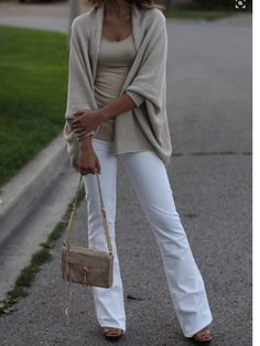 White flare jeans, beige tank and beige cardigan. Stitch fix 2016