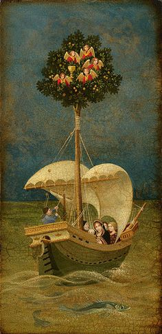 The Holy Grail Travels to Britain by James C. Christensen LIMITED EDITION CANVAS