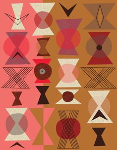 Jenn Ski art via Etsy. Textiles, Textile Patterns, Print Patterns, Pattern Designs, Retro Pattern, Geometric Patterns, Abstract Pattern, Abstract Art, Mid Century Art