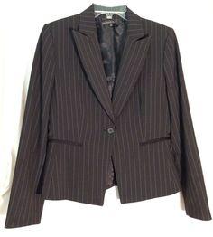 ANTONIO MELANI Black Jacket/Blazer - Tan-Gray Stripes - Pockets - Size 10 #AntonioMelani #BlazerJacket #antonio #melani #jacket #blazer #black #stripes #striped #10