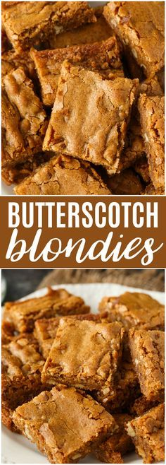 Butterscotch Blondies - Every bite is sweet, chunky and full of delicious butterscotch flavors. The pecans add a little crunch. Butterscotch Blondies - Every bite is sweet, chunky and full of delicious butterscotch flavors. The pecans add a little crunch. Cookie Desserts, Easy Desserts, Delicious Desserts, Yummy Food, Pecan Desserts, Brownie Recipes, Cookie Recipes, Dessert Recipes, Caramel Recipes