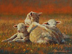sheep and lambs painting by Steve Oiestad