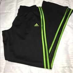 ADIDAS  LADIES SWEATPANTS ADIDAS BLACK SWEATPANTS WITH TRIPLE LIME GREEN STRIPS WITH SPLITS N SIDE POCKETS EXCELLENT CONDITION SIZE SMALL Adidas Pants Track Pants & Joggers