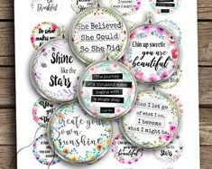 Inspirational Quotes Boho Spirit Round images for Jewelry making Printable Digital Collage Sheet Resin Pendant, Glass Pendants, Photo Fix, Hand Lettering Quotes, Mason Jar Lids, Collage Sheet, Digital Collage, My Images, Planner Stickers