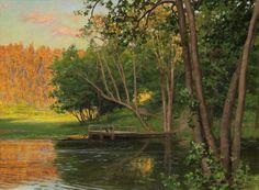 Johan Krouthén (1859-1932): Sommarlandskap med brygga vid sjö, 1906