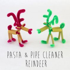 Pasta and pipe cleaner reindeer fun #craft