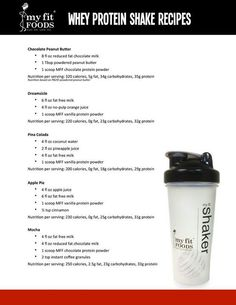Whey protein shake recipes- sub the milk for almond milk, and juices for fruit