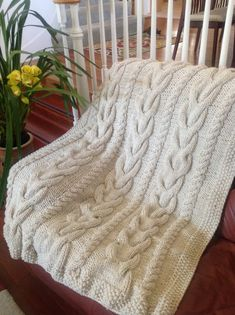This hand-made knit afghan is in the V CABLE pattern using OFF WHITE colored yarn, made to wrap yourself up in or lounge with on the sofa. This pattern Knitted Afghans, Knitted Throws, Cable Knit Blankets, Diy Blankets, Home Art, Throw Pillows, Knitting, Pattern, Blanco Color