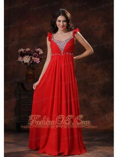 Apache Junction Arizona Beaded Decorate Bust Square Neckline Red Chiffon Prom Dress  http://www.fashionos.com  Presenting your curves in this red chiffon prom dress. Intricate shining beading adorns the sweetheart bodice. The beaded shoulder straps and low open back design add your charming and beauty. Slimming ruched chiffon with flowy floor length skirt. The delicate ruche around the bust accents the wave decoration on the waist. Stunning in the spotlight or on the dance floor.