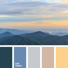 """dusty"" blue, ""dusty"" orange, blue colour, color of asphalt, design palettes, fog color in the mountains, gray, gray-orange, orange color, selection of palettes and colors, shades of blue, shades of gray, shades of sunset."