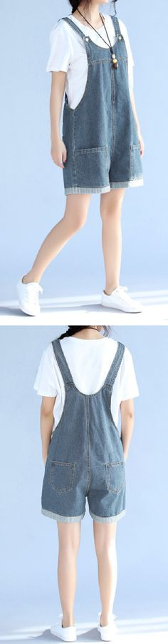 US$ 29.66 Casual Women Blue Strap Pockets Denim Jumpsuits Shorts