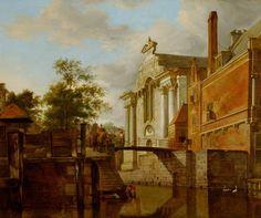 Jan van der Heyden (1637-1712) A Canal Junction, near a Church, circa 1670