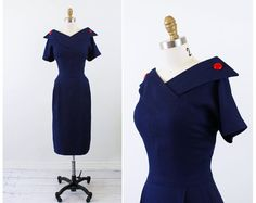 vintage 1950s 50s dress // Navy Blue Sailor Wiggle Dress with Large Red Buttons