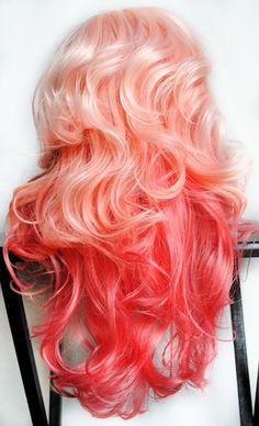 HALLOWEEN SALE - PEACHES and Cream wig // Pink // Wavy Lolita Scene Sexy Pin Up Hair