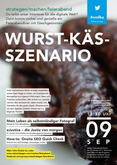 """""""Wurst-Käs-Szenario"""" - am 9. September 2014 bei uns netzstrategen. #nmfka Veranstaltungshinweis: https://www.facebook.com/events/346929772148764"""