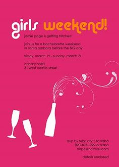 girls weekend get away girls weekend invites. Black Bedroom Furniture Sets. Home Design Ideas