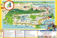 Mapa de onibus turistico e hop on hop off bus tour de Rio L\'Open Tour