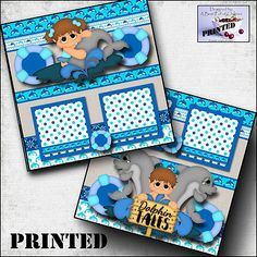 DOLPHIN-TALES-boy-girl-printed-2-premade-scrapbook-pages-paper-layout-BY-CHERRY