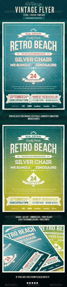 Retro Summer Beach Flyer/Poster — Photoshop PSD #dark #typography • Available here → https://graphicriver.net/item/retro-summer-beach-flyerposter/4919697?ref=pxcr