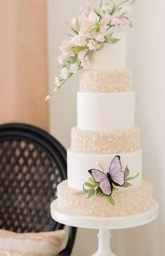 Featured Photographer: Vasia Photography, Featured Cake: A. Elizabeth Cakes; Chic gold and white butterfly wedding cake