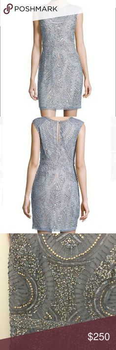 Aidan Mattox blue sequin bead mesh cocktail dress Delicate beadwork radiates across a beautiful mesh cocktail dress topped with sheer, barely there cap Sleeves that add a lovely quality to the dazzling look. Worn only once, great condition Aidan Mattox Dresses Mini