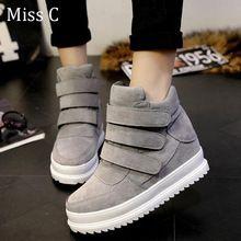 [ señorita C ] mujeres zapatos de plataforma 2015 otoño coreano oculta Heel Flock moda cuña zapatos casuales mujer WSN3(China (Mainland))