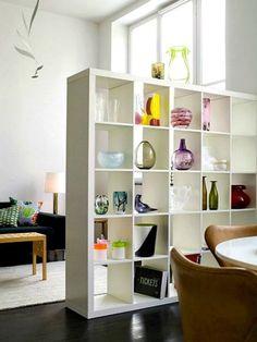 decorative shelf as room divider
