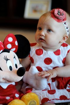 The Minnie Madeline. Red & Black Minnie Mouse Baby girl headband with satin elastic band. $10.50, via Etsy.