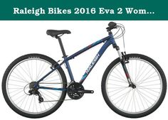 """Raleigh Bikes 2016 Eva 2 Women's Mountain Bike, 19"""" /Lg Frame, Blue, 19"""" / Large. Get outside for some fresh air this weekend and have fun with your new two-wheeled companion, EVA 2! from town to trail and back again, this entry-level women's mountain bike is equally at home on the dirt as it is on the pavement. Built with the beginner rider in mind, the EVA 2 offers comfort and control with a low stand over height and women's specific geometry. The cushy raleigh mountain plush saddle and..."""