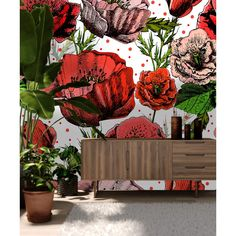 Winston Porter Boaz Removable Vibrant Poppy Flowers L x W Peel and Stick Wallpaper Roll Wall Art Wallpaper, Wallpaper Panels, Wallpaper Roll, Peel And Stick Wallpaper, Wallpaper Ideas, Vintage Floral Wallpapers, 3d Wall, Mural Wall, Textured Walls