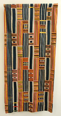 Africa | Woman's Kente wrapper from the Ewe people of Ghana | Mid 20th century | Cotton.