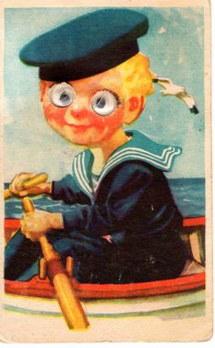 Vintage moving eyes postcard, a sailor in a boat, 50's