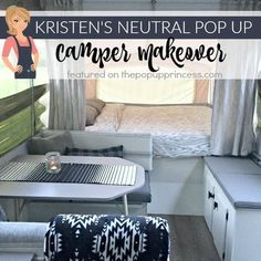 This gorgeous pop up camper makeover is a perfect blend of simple and elegant. The neutral colors give the trailer a calm, natural feel.