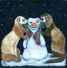 Art by Stef Funny Animal Pictures, Funny Animals, Cute Animals, Funny Ferrets, Nature Paintings, Animal Tattoos, Illustration Art, Art Illustrations, Animals Beautiful