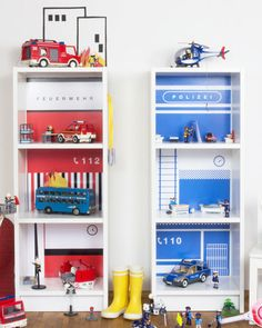 Decorative film fire station for playhouse IKEA BILLY – Kids Room 2020 Baby Boy Room Decor, Baby Boy Rooms, Diy Barbie Furniture, Kids Furniture, Lego Bedroom, Kids Bedroom, Ikea Billy, Diy Toddler Bed, Room Themes