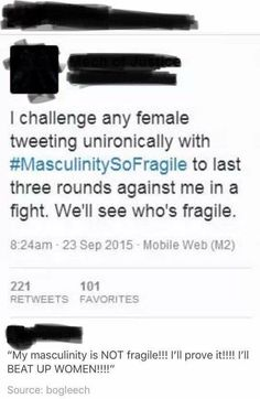 """The fact that men go STRAIGHT to """"if you want equality, I should be able to sock you in the fucking face with no repercussions"""".it says a lot. Funny Memes, Hilarious, Intersectional Feminism, Patriarchy, Faith In Humanity, Equality, Fight Club, Facts, Shit Happens"""