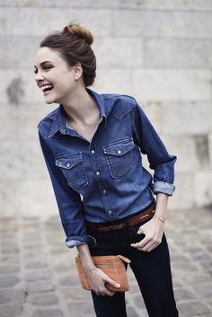 Pair denim in contrasting washes to get this look.